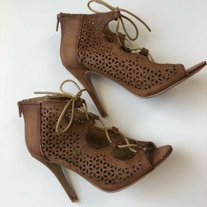 Tan Lace Up Steve Madden Girl Booties